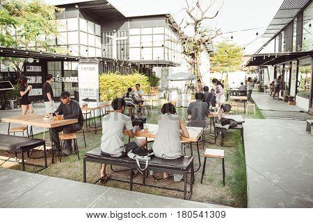 BANGKOK THAILAND - JANUARY 22 2017: An Undefined people relaxing at The Bloc Cafe Bangkok Thailand