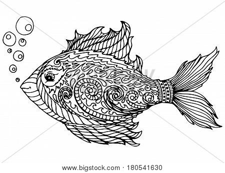 Zen tangle stylized abstract fish, isolated on white background. Hand drawn sketch for adult antistress coloring page, T-shirt emblem, logo, tattoo with doodle, zen tangle, floral elements.