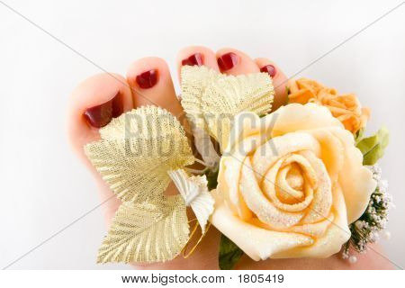 Beautiful woman feet with flowers isolated on white background poster