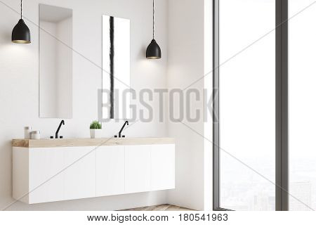 Side view of a modern beautiful bathroom with a long white double sink. The wall is white. 3d rendering