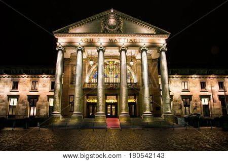 Wiesbaden, Germany - February 20 2017 : Famous historic Casino in Wiesbaden in Germany at night