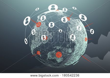 Planet Earth with a graph in the background and a network sketch. Concept of globalization.