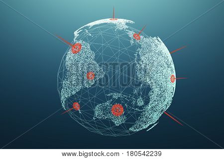 Planet Earth with red landmarks situated at different continents and places on its surface. Concept of international trade.