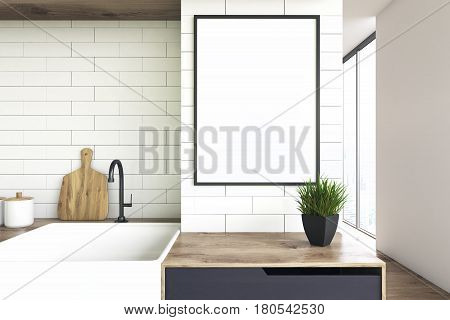 Close up of a kitchen sink and a wooden countertop with a flower pot standing on it. There is a framed vertical poster above it. 3d rendering mock up