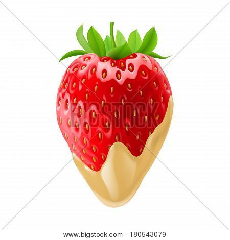 Ripe Strawberry Dipped in White Chocolate Fondue for Design Template