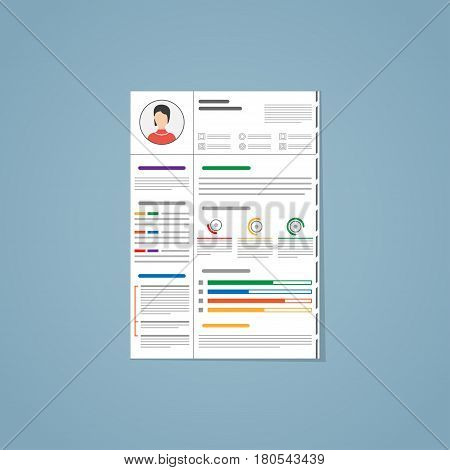 Resume for a hiring. With photo different graphics paragraphs and segmenting. Made in flat with different colors.