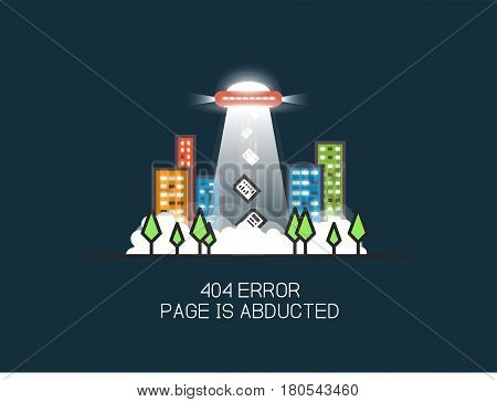 404 error page flat line concept. Template for dark theme site. Link to a non-existent page. UFO with gravitational rays abducting pages in the city from city park. 404 page not found design template.