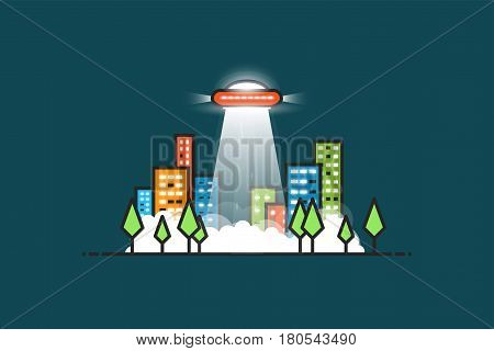 UFO with gravitational abducting rays flying in the city. City park with trees and buildings with glowing windows at night. Fog and smoke on the ground. Space aliens visiting Earth.
