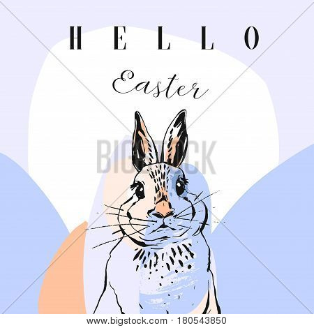Hand made vector abstract illustration with bunny and Hello Easter quote.Easter greeting background.
