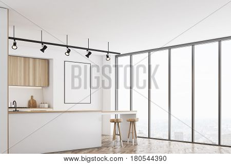 White Kitchen With Bar And Poster, Corner