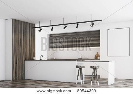 White Kitchen With Bar And Poster, Dark, Side