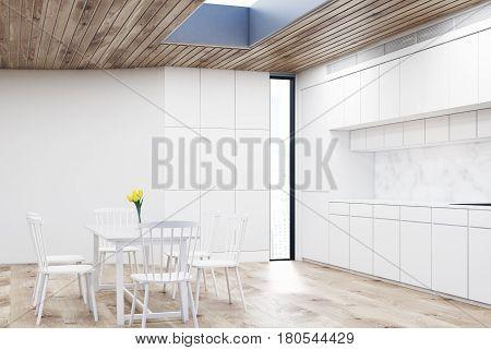 White Kitchen With Round Table