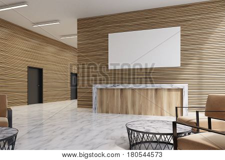 Side view of a light wooden reception counter with a poster hanging above it marble floor and a row of doors in the background. Armchairs and a coffee table in the lobby. 3d rendering mock up