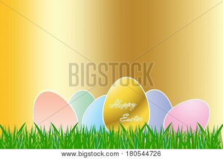 The group of color eggs with white borders are lying on the grass. The golden egg with sign Happy Easter is in the foreground. All is on the golden background.