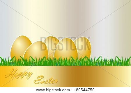 The group of golden eggs with white borders are lying on the grass. The golden rectangle with golden inscription Happy Easter is in the bottom edge of the vector.