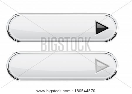 White oval buttons with arrows. Normal and active. Interface elements with metal frame. Vector 3d illustration isolated on white background