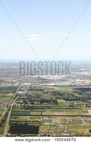 Aerial view of suburbs around Christchurch New Zealand.