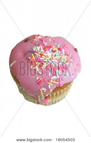 A single pink icing covered cupcake with sprinkles of hundreds of thousands, isolated