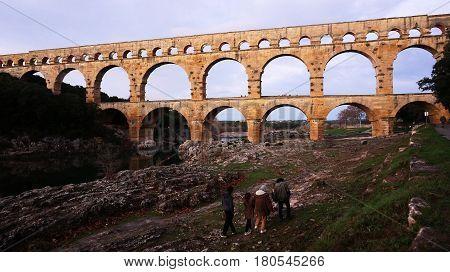 Pont Du Gard Near Nimes In Southern France.
