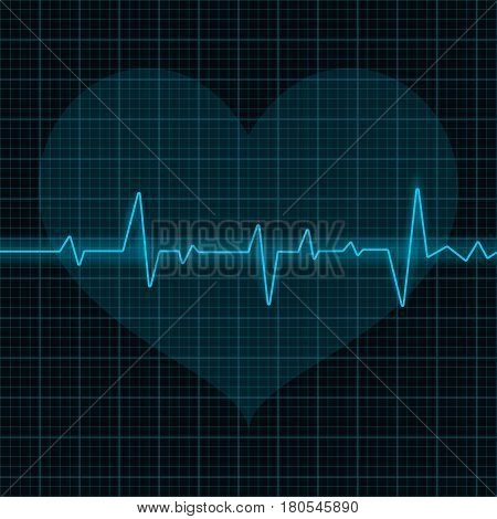 Electrocardiogram. Blue waves with heart symbol. Vector 3d illustration