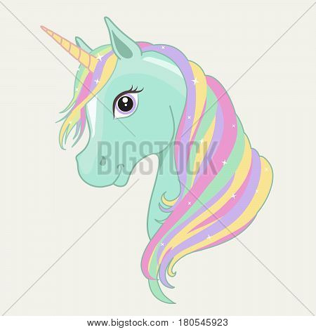 Green, mint unicorn vector head with rainbow mane and horn. Unicorn isolated on background.