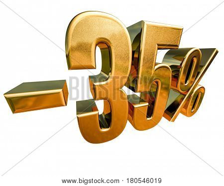 3d render: Gold -35%, Minus Thirty Five Percent Discount Sign