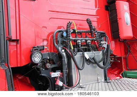 The Utility Connectors of a Large Lorry Truck.