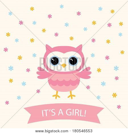 Baby girl arrival card with a cute cartoon owls