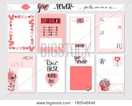 Hand drawn vector abstract graphic Valentines day greeting cards collection set with journaling note pagesmodern calligraphy and trendy illustrations in pink pastel color solated on white background