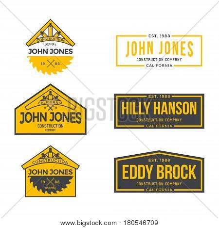 Construction Company Label and Badges. Vector illustration
