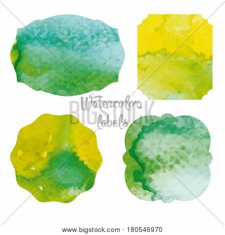 Set forms of retro labels. Labels with watercolor casting. Gamma yellow-green.