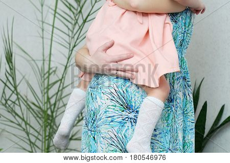 Pregnant woman with daughter maternal love pregnancy belly of woman with child. Expecting baby birth in third trimester being mother. Prenatal period pregnancy health prepared for child birth