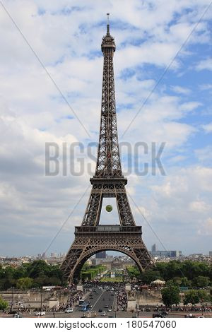 PARIS FRANCE - MAY 25 2015: Eiffel Tower the symbol of Paris on May 25 2015
