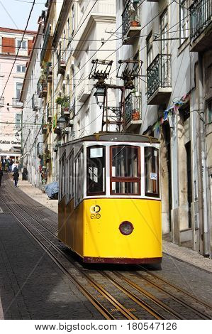 LISBON PORTUGAL - February 2 2017: Gloria Funicular (Ascensor da Gloria) in Lisbon on February 2 2017. Lisbon's Gloria funicular classified as a national monument opened in 1885 connects downtown with Bairro Alto