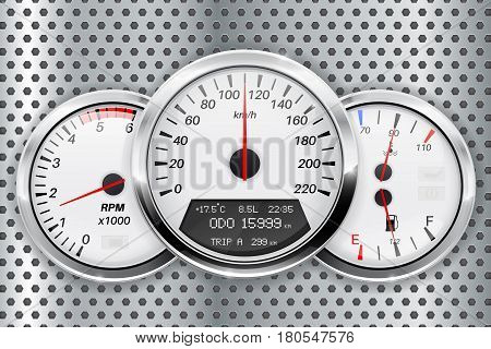 Speedometer. Car dashboard on metal perforated background. Vector illustration