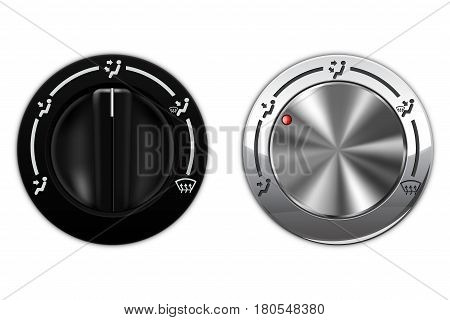Metal and black plastic knob switch. Car air conditioning. Vector illustration isolated on white background