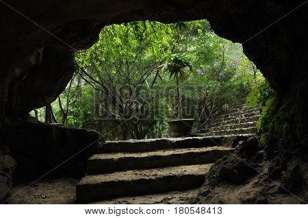 View from a cave. Mua cave. Ninh Binh Vietnam