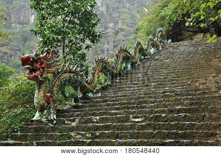 Carved Stone Dragon. Ascending Staircase To Hang Mua Pagoda, Ninh Binh, Vietnam