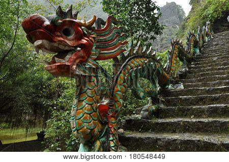 Carved Stone Dragon. Ascending Staircase To Hang Mua Pagoda, Ninh Binh, Vietnam