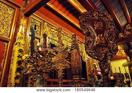 Interior Of The Bach Ma Temple. Hanoi, Vietnam