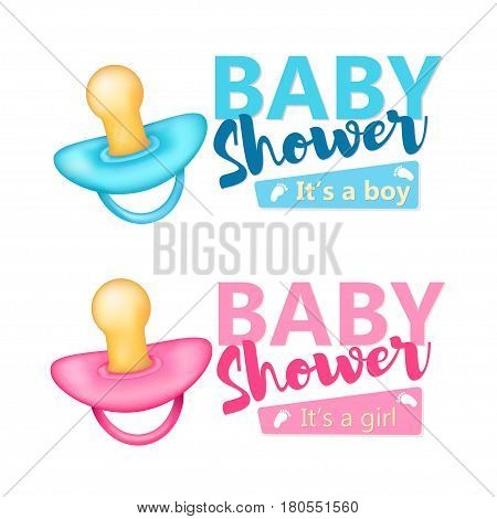 Baby Shower set. Realistic blue and pink nipples icon. Vector.