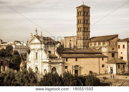 The old church Santa Francesca Romana (Santa Maria Nova) in Roman Forum, Rome, Italy