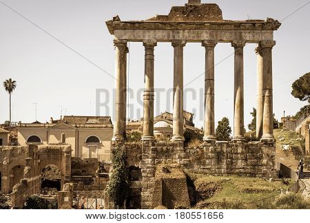 Ruins of temple of Saturn on the Roman Forum in Rome, Italy
