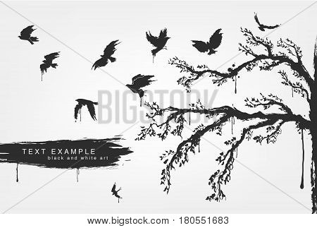 figures of flying birds, trees in grunge style colors