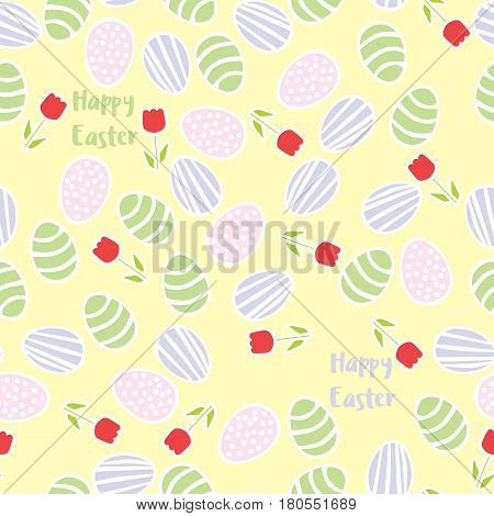 Seamless pattern of Easter eggs with flowers and text