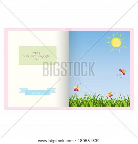 Open book vector illustration. World book andcopyright day