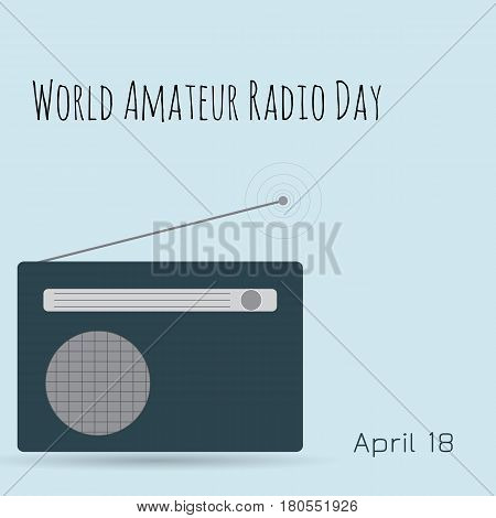 World amateur radio day. Radio on blue background