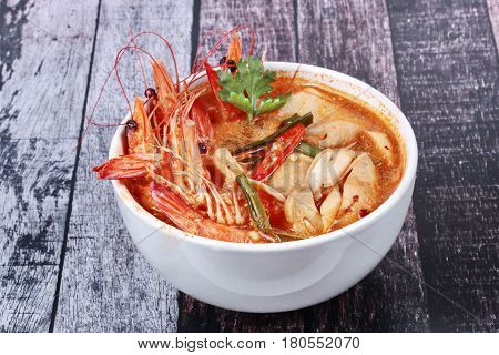 Tom Yum Fresh Prawn With Milk And Sliced Coconut.