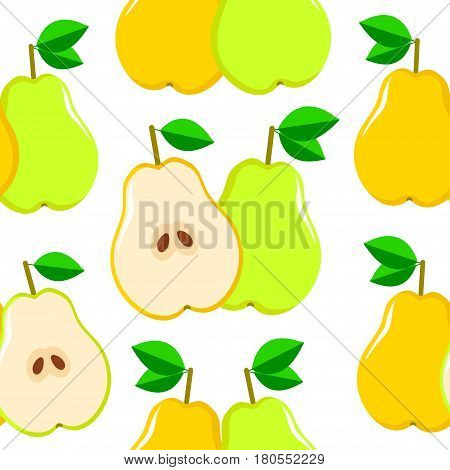 Seamless vector pattern with yellow and green pears on the white background.The whole and half part of fruits