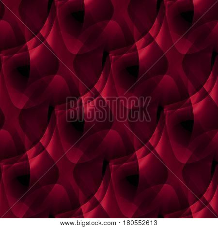 Abstract geometric seamless background. Regular modern wavy pattern in deep red, red violet and dark brown shades, overlaying and diagonally.